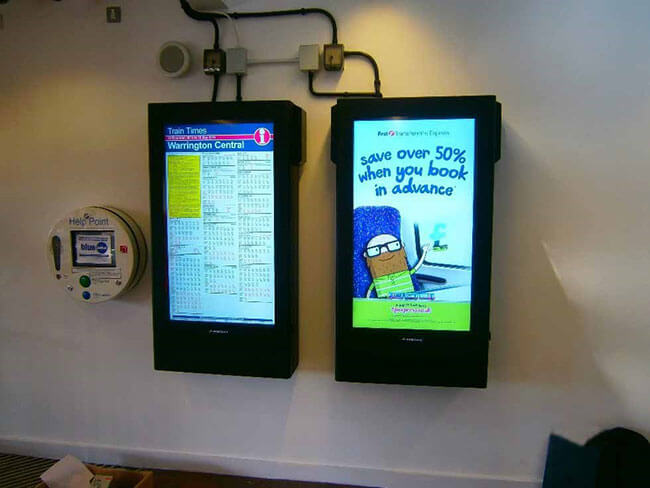 Digital signage warrington train station in the UK