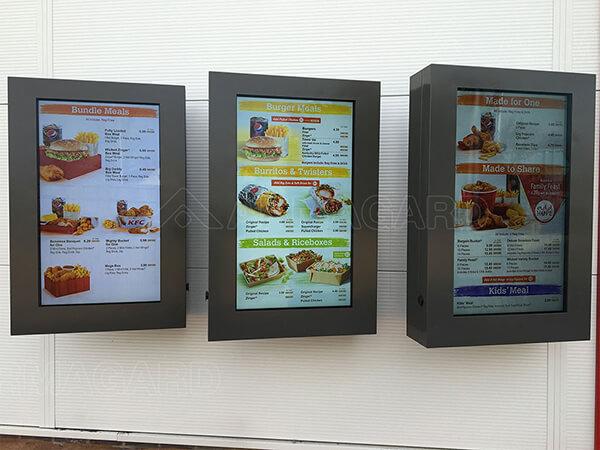 LCD menu boards at the drive thru