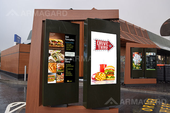 Drive thru digital menu boards combined with enclosures