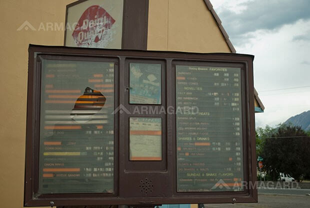 Poorly maintained drive thru menu boards
