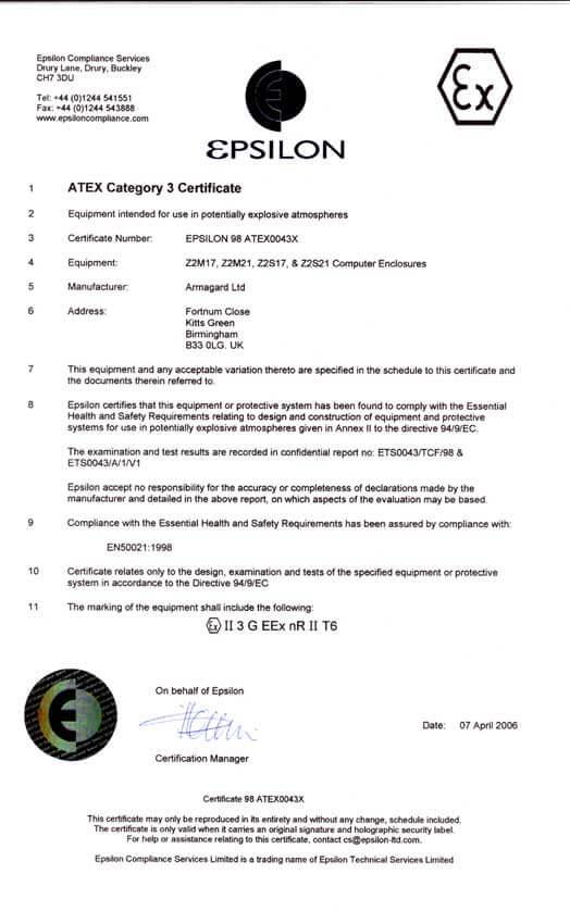 Zone 2 Certificate