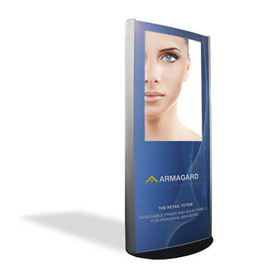 brushed aluminium Indoor Advertising Display retail totem branded for Armagard on a white background with a shadow