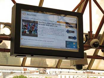Armagard LCD enclosure installed at a river boat terminal