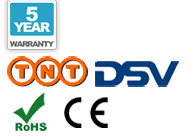 Five-Year Warranty, TNT delivery, DSV delivery, CE, and RoHS logos