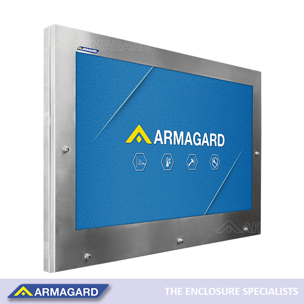 Armagard IP69K hygienic TV enclosure to protect a screen in washdown locations