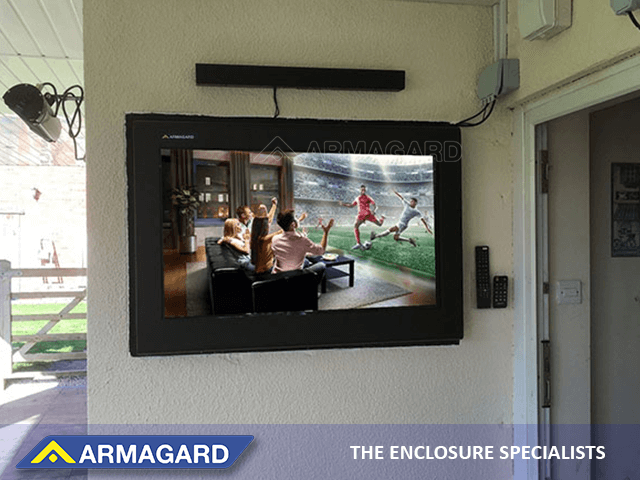 Outdoor tv inside recessed wall