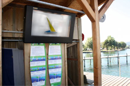 An LCD enclosure used by a surfing school to protect against weathering elements | Armagard 2012
