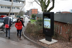 Digital Signage in Education - a totem enclosure on a UK university campus