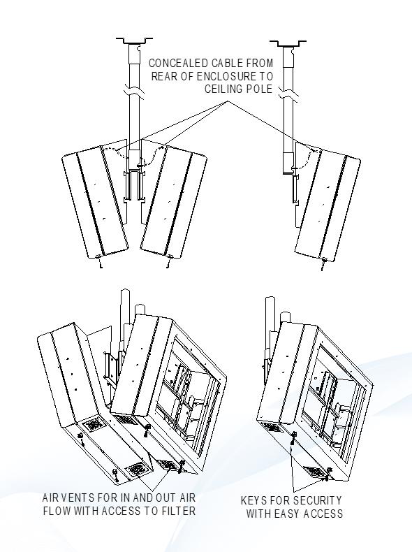 digital signage screen hanging diagram