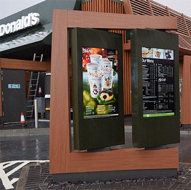 "Armagard's 75"" outdoor digital menu boards at Mcdonalds"