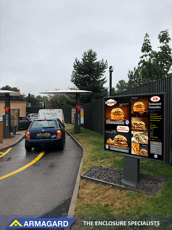 Multi-screen digital signage displays as drive-thru menu boards
