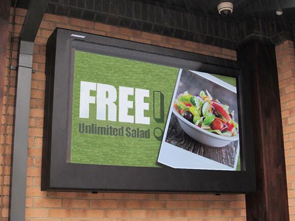 Outdoor digital signage deployed as a menu board