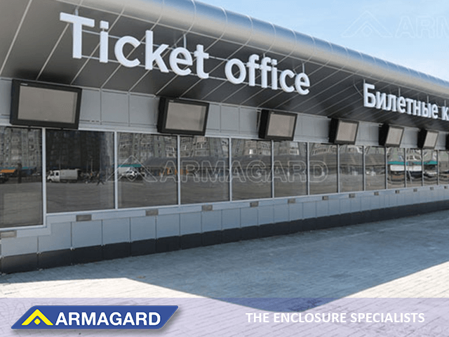 Outdoor digital signage at a football stadium ticket office